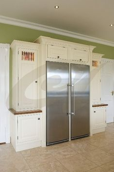 Liebherr fridge freezer with bespoke larder surround. Want (ah, the dream of… Inexpensive Furniture, How To Clean Furniture, Cheap Furniture, Furniture Cleaning, Kitchen Dresser, Kitchen Cupboards, Kitchen Storage, Farmhouse Furniture, Kitchen Furniture