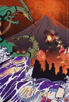 In celebration of Pokemon Omega Ruby and Alpha Sapphire being released, I wanted to produce a new ukiyo-e painting. Clash of the Kaiju Pokemon Poster, Pokemon Fan Art, Pokemon Rayquaza, Mega Rayquaza, Pokemon Rosa, Mega Pokemon, Nintendo Pokemon, Digimon, Equipe Pokemon