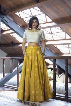 Buy White And Golden Color Crop Top Skirt by Akanksha Singh at Fresh Look Fashion Choli Designs, Lehenga Designs, Saree Blouse Designs, Churidar Designs, Lehnga Dress, Lehenga Blouse, Lengha Saree, Indian Gowns, Indian Attire