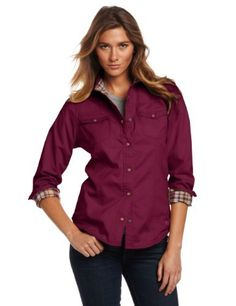 Carhartt Women's Womens Jackson Shirt Carhartt. $59.99. 5.5-ounce, 100% cotton twill. Two chest pockets with flaps and snap closures. 100% cotton twill. Machine Wash. 100% cotton flannel lining