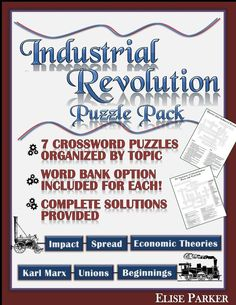Industrial Revolution Puzzle Worksheets --a great way teach or review key concepts! Industrial Revolution Puzzles include 7 different crosswords, each differentiated with basic / advanced levels. Each Industrial Revolution worksheet focuses on a specific topic like unions, economic theory, industrialization's impact, or its beginnings. Great for fun quizzes, homework, cooperative learning, sub plans, and more! #industrialrevolution #historypuzzles #puzzle #industrialization #factories… Cooperative Learning, Fun Learning, Learning Activities, History Teachers, Teaching History, School Teacher, Teacher Pay Teachers, Puzzle Organization, Fun Quizzes
