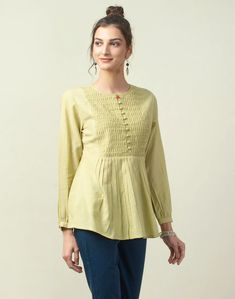 Shop Cotton Dobby Pintuck Detail Top from Shoprapy ! Kurti Neck Designs, Salwar Designs, Blouse Designs, Simple Pakistani Dresses, Western Wear For Women, Embroidery Suits, Fashion Design Sketches, Trendy Tops, Dresses With Leggings