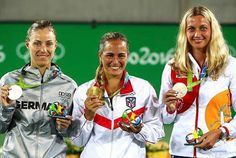 Monica Puig wins gold, Angelique Kerber wins silver and Vera Kvitova wins bronze at the Rio 2016 Olympics