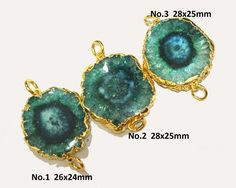 1Pc 26-28 mm 24k Gold Electroplated Green Solar by RareGemsNJewels