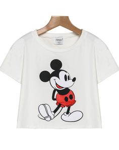 White Short Sleeve Mickey Print Crop T-Shirt pictures