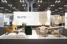 Woodnotes San Francisco paper yarn carpets are on display at the SUITE NY's lounge setup in the ICFF 2017, New York City.  #interiordesign #interiordecor #carpet #rug #ecodesign