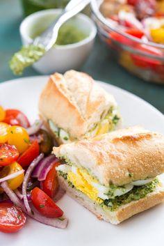 Pesto Egg Baguette easy picnic food!