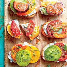 Open-Faced Tomato Sandwiches with Creamy Cucumber Spread | MyRecipes.com