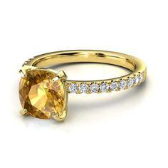 Cushion Citrine 14K Yellow Gold Ring with Diamond | Cecilia Ring | Gemvara
