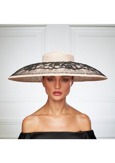 The Elana is the heroine of Sylvia Fletcher& Spring& 2017 bespoke collection. The wide, drop-brim hat is crafted from sinamay with a French ebony-lace overlay. Fascinator Hats, Fascinators, Headpieces, Millinery Hats, Crazy Hats, Fancy Hats, Church Hats, Hats Online, Wedding Hats