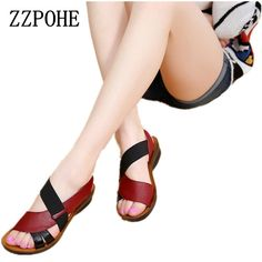 ZZPOHE Summer New Woman Soft bottom middle-aged Sandals Fashion comfortable mother sandals leather large size women's shoes 40 - FASHION Fashion Sandals, Sneakers Fashion, Leather Slip Ons, Leather Sandals, Soft Leather, Wedge Sandals, Large Size Shoes, Rubber Sandals, Sneakers Mode