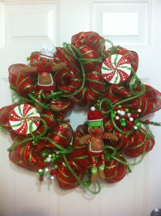 pictures+of+deco+mesh+christmas+wreaths | ginger man christmas deco mesh wreath | Christmas