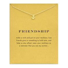 Gold Plated Sparkling Friendship Anchor Pendant Necklace - onefav.store