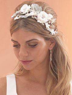 Exquisite Statement Lace Floral Wedding Headpiece by Arianna - laceandfavour.com