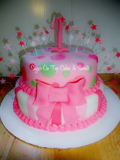 Pink First Birthday Cake! facebook.com/SugarOnTopCakes