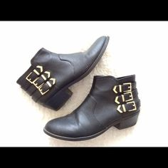 Aldo • Gold Buckle Arrow Booties Loved Aldo black booties with three buckle arrow details on each boot. Boots are in great condition. US 7.5 Euro 38 ALDO Shoes Ankle Boots & Booties