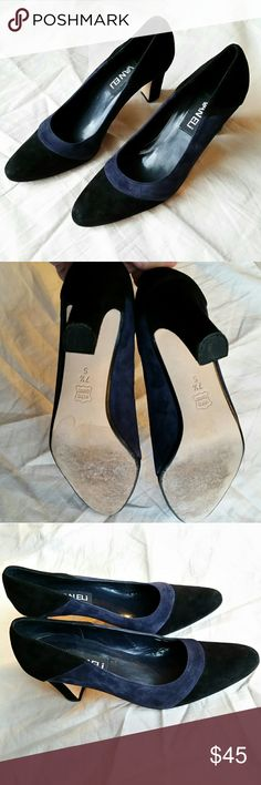 Vaneli Black and Midnight Navy Blue Suede Pumps Excellent almost new conditon, have only been worn once. Heel is a little wider which makes it more comfortable to walk in. 3 inch heel Round toe Black and midnight navy blue Suede Vaneli Shoes Heels