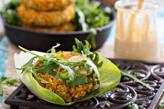 Looking for a healthy bite that packs a lot of punch and will fill you up? Try these sweet potato burgers or keep it light as a lettuce wrap. Cashew Recipes, Raw Food Recipes, Vegetarian Recipes, Cooking Recipes, Healthy Recipes, Delicious Recipes, Vegan Sweet Potato Burger, Vegan Chickpea Burger, Chickpea Patties