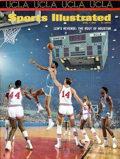 """<p>Lew Alcindor shoots his trademark skyhook as UCLA drubs Houston 101-69 in the national semifinals. Houston beat UCLA in January in what was dubbed """"The Game of the Century,"""" but Lew Alcindor and the Bruins got the last laugh en route to the second of what would be seven straight national titles.</p>"""