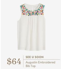 I adore this embroidery, but I don't like this shape top, I need a more defined waist in a shirt -meagan