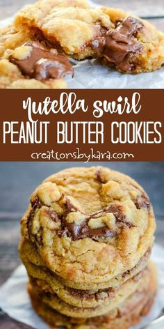 chocolate marshmallow cookies Nutella Peanut Butter Cookies - soft and chewy peanut butter cookies with swirls of chocolate hazelnut spread. Both nutella fans and peanut butter lovers will go crazy for these cookies! Nutella Fudge, Pancakes Nutella, Biscuit Nutella, Peanut Butter Nutella Cookies, Chocolate Marshmallow Cookies, Chocolate Chip Shortbread Cookies, Toffee Cookies, Nutella Recipes, Yummy Cookies