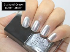 'Diamond geezer'' in spite of the name, it is a perfect light silver colour :-) just follow the link to: Le blog du Doux Nuage: Le vernis du jour : Diamond Geezer de Butter London  - the blog includes several good photoes of diamond geezer. ( together with pictures of a beautiful wine red from Purrfect ) Enjoy :-)