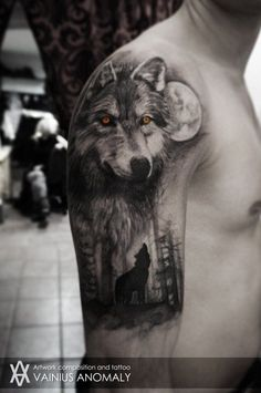 Wolf Forest Moon Tattoo