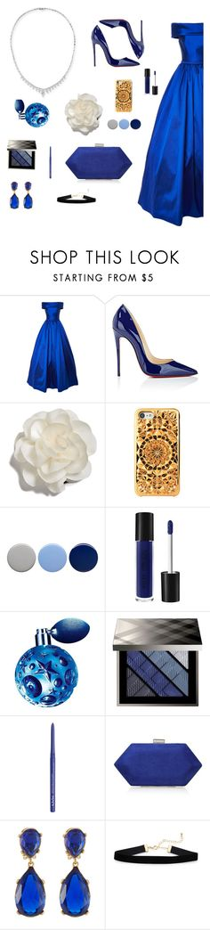 """Beautiful Blue"" by robot-sushi ❤ liked on Polyvore featuring Christian Louboutin, Cara, Felony Case, Burberry, Thierry Mugler, NYX, Miss KG, Kenneth Jay Lane and Stephen Webster"