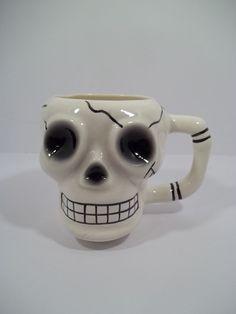 "SKULL SKELETON HEAD COFFEE MUG - GOTHIC - CERAMIC - 4"" Tall - HAUNTING!"
