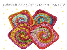 Granny Square Twister Spiral - Crochet pattern can be purchased: http://www.elealinda-design.de/epages/63958927.sf/en_US/?ViewObjectID=37632336