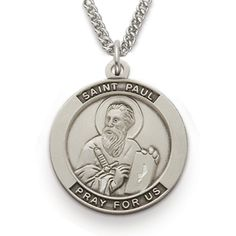 St. Paul, Patron Of Authors, Sterling Silver Medal http://www.truefaithjewelry.com/sm8534sh.html
