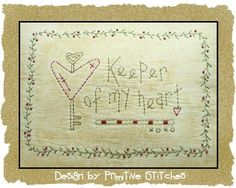Keeper Of My Heart--Primitive Stitchery E-PATTERN-by Primitive Stitches-Instant Download-$2.50