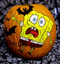 SpongeBob Pumpkin Painting by Denise A. Wells by ♥Denise A. Wells♥, via Flickr