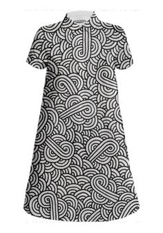Black and white swirls doodles Mini Shirt Dress by @savousepate on @printalloverme