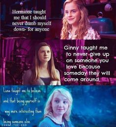 Check it out Potter Heads! Love these Harry Potter character lessons. Hermione Granger, Ginny Weasley, and Luna Lovegood Harry Potter World, Mundo Harry Potter, Harry Potter Puns, Harry Potter Universal, Harry Potter Characters, Female Characters, Funny Harry Potter Quotes, Harry Potter Fun Facts, Snape Quotes
