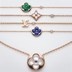 Louis Vuitton Blossom Color BB jewellery bracelets and necklace, in mother-of-pearl, malachite and lapis lazuli. LV monogram with diamonds on rose gold chain. http://www.thejewelleryeditor.com/jewellery/article/louis-vuitton-color-blossom-bb-jewellery/ #jewelry