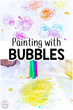 Painting with bubbles is the perfect art activity for summer or spring. Your kids are going to have a blast while bubble painting! #artactivity #kidsart #processart #outdoorart #summerfun #summerart #kidsactivities