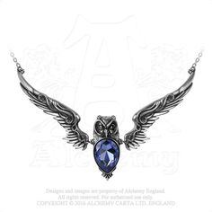 Stryx Owl Companion Necklace - Alchemy Gothic Dark Owl Pendant with Purple Swarovski crystal