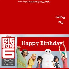 Big Hero 6 Birthday Day Treat Bag Toppers by YourSweetDetails on Etsy