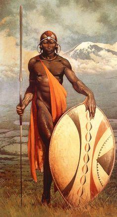 Masai Warrior, by Frank Frazetta, 1960