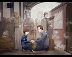 """""""Albus Severus Potter, you were named for two headmaster's of Hogwarts. One of them was a Slytherin, and probably the bravest man I ever knew"""" Harry Potter World, Harry Potter Comics, Fanart Harry Potter, Images Harry Potter, Harry Potter Humor, Arte Do Harry Potter, Harry Potter Drawings, Harry Potter Love, Harry Potter Universal"""