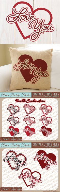 Love SVG Cutting File, Valentines Day Clip Art, Heart SVG, Valentines SVG, SVG File For Silhouette Pattern, SVG File For Cricut Projects, SVG Format File, DXF File and PNG Image files.  Theses designs were created so they could be arranged in many different ways. These vinyl designs are great for, Wall Art Quotes, Vinyl Wall Decal, Printable Clip Art and more. By: www.beaulindslystudio.com