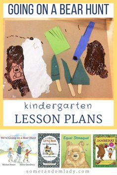 Kindergarten lesson plans, unit study for Going on a Bear Hunt. Click through for book list, activities, crafts, and a free printable!