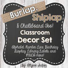 Burlap, Shiplap, and Chalkboard Too! Classroom Decor Jumbo Set - Fixer Upper Classroom