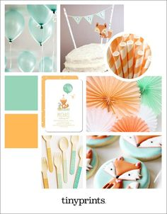 The trend of the moment is woodland themed birthday parties. Style baby's first birthday with baby foxes and playful colors.
