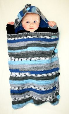 Schlaf SACK / Schlafsack für Baby Gestricken blau von mikmakwinkel