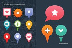 104 stylish and scalable Vector PSD map markers to use as placemarks for your map related projects. Also can be used for mobile apps, web design, interface design or presentations. All map