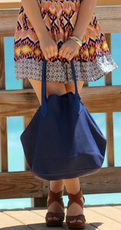 Tribal prints + cobalt blue = the perfect summer outfit! Seriously loving this adorable outfit for a day at the beach! #FashionistasAdora