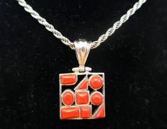 Sterling Silver and Red Coral Pendant - Vintage 925 Italian Silver Necklace - Multi Shaped Red Stones - Silver Pendant Stone on Silver