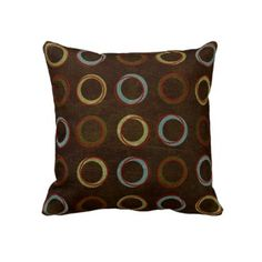 Brown circles American MoJo Throw Pillows